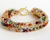 Free Shipping gold filled crochet bracelet with Swarovsky beads
