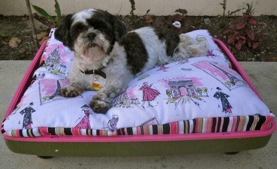 SUPER SALE Pink Black and Green Paris Large Retro Suitcase Pet Bed