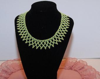 Green & Yellow Beadwork Necklace