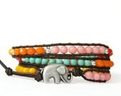 Sundance 3... GOOD LUCK ELEPHANT leather wrap bracelet
