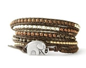 the lucky elephant Leather Wrap Bracelet - Brown, Gold, Silver 5 Wrap with GOOD LUCK ELEPHANT
