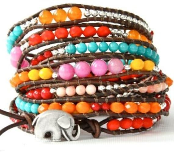 the lucky elephant Mega Leather Wrap Bracelet... Rainbow Sundance with GOOD LUCK ELEPHANT - 4.5 feet long