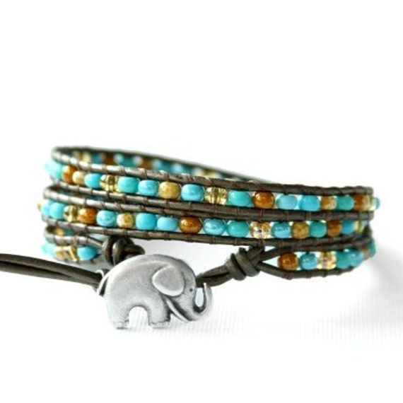 Turquoise and Brown GOOD LUCK ELEPHANT leather wrap bracelet