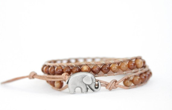 the lucky elephant Leather Wrap Bracelet - Tan Leather with Brown Shell and Good Luck Elephant