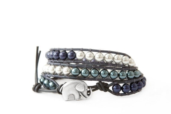 the lucky elephant Leather Wrap Bracelet - Blue, Teal & Gray Swarovski Crystal Pearl with GOOD LUCK ELEPHANT