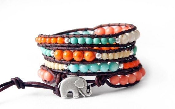 Coral and Turquoise Lucky Elephant Leather Wrap Bracelet - Mixed Beads with GOOD LUCK ELEPHANT