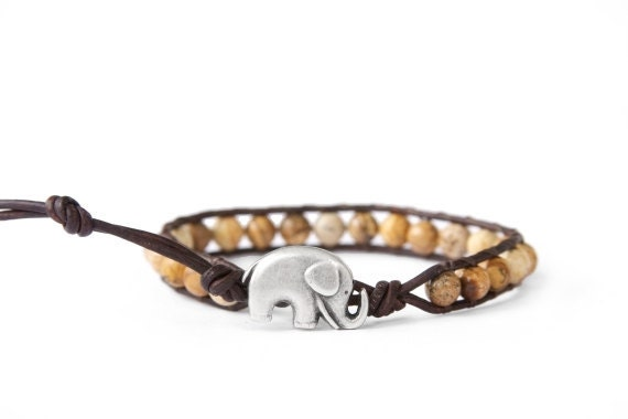 the lucky elephant Beaded Leather Wrap Bracelet -   Brown Natural Stone with GOOD LUCK ELEPHANT