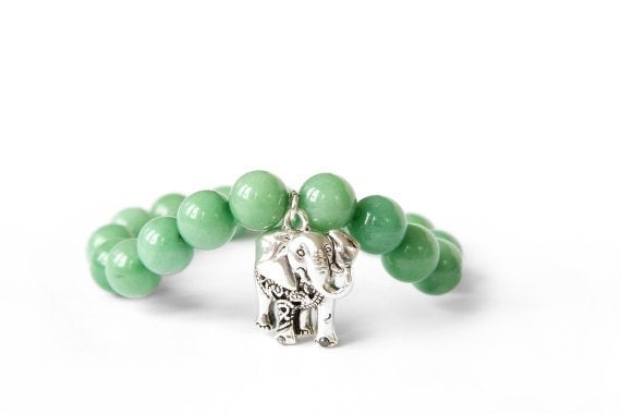 lucky elephant charm bracelet with green jade