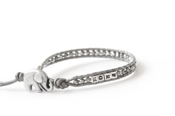 For Maggie...the lucky elephant Personalized Name Leather Wrap Graduation Bracelet with 8 Sterling Silver Letter Beads & GOOD LUCK ELEPHANT