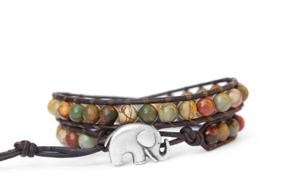 Lucky Elephant Leather Wrap Bracelet - Red Creek Jasper with GOOD LUCK ELEPHANT