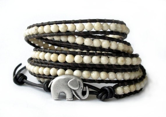 the lucky elephant Leather Wrap Bracelet - Cream Wrap River Stone with GOOD LUCK ELEPHANT
