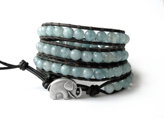 the lucky elephant  Leather Wrap Bracelet - Soft Teal Natural Stone with GOOD LUCK ELEPHANT