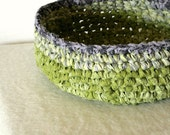 Reused fabric bowl green and grey rag crochet homedecor