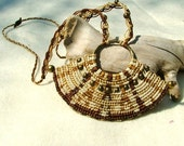 Macrame necklace earthy colors, beaded hand knotted cavandoli style OOAK piece