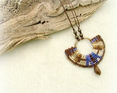 Light as a feather - fabulous micro macrame purple brown necklace