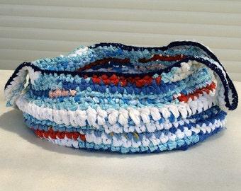 Upcycled large rag crochet basket - summer blue white and orange - toy basket - beach bag