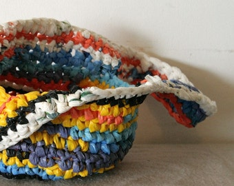Recycled plastic bag colorful crochet basket with long handles