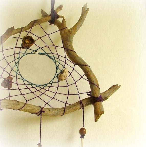 OOAK triangular eye catching dream catcher weaved in purple and blue with seashells and natural pods
