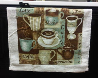 Won't Fall Off Kitchen Hand Towel - Coffee Shop