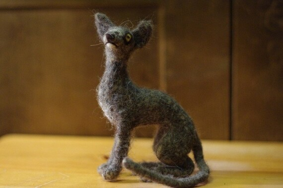 Needle felted cat sculpture