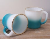 Pair of Turquoise Blue Fire King Mugs