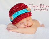 FREE SHIPPING newborn speckled red and turquosie newsboy hat