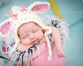 FREE SHIPPING newborn photo prop be a lamb bonnet hat with detachable bows 2 props in 1