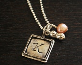 Sterling silver initial pendant hand stamped necklace