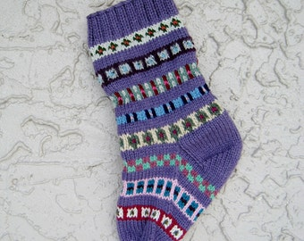 Christmas stocking hand knit in purple lilac with FREE U.S. SHIPPING vibrant colors and patterns