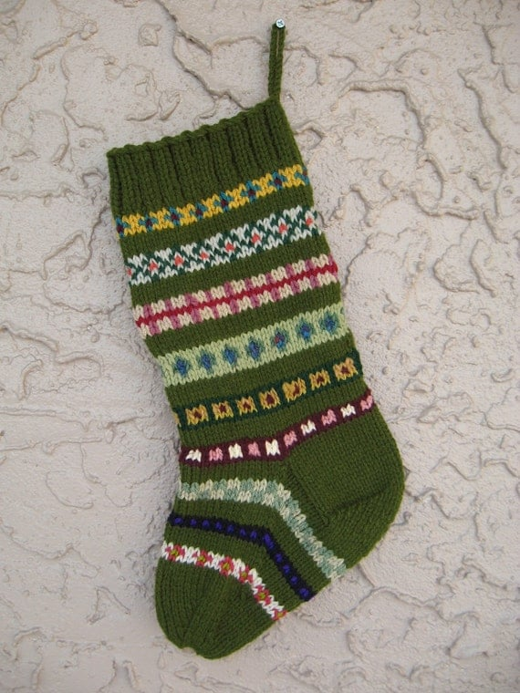 Olive green Christmas stocking hand knit FREE U.S. SHIPPING