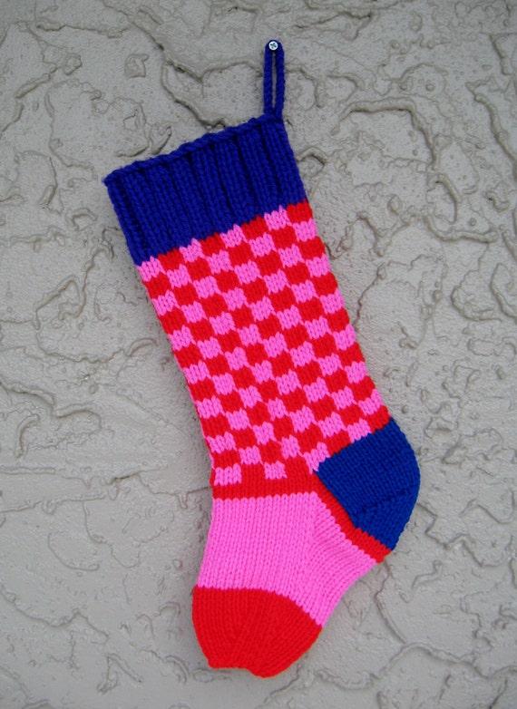 FREE SHIPPING bright checks Christmas stocking hand knit