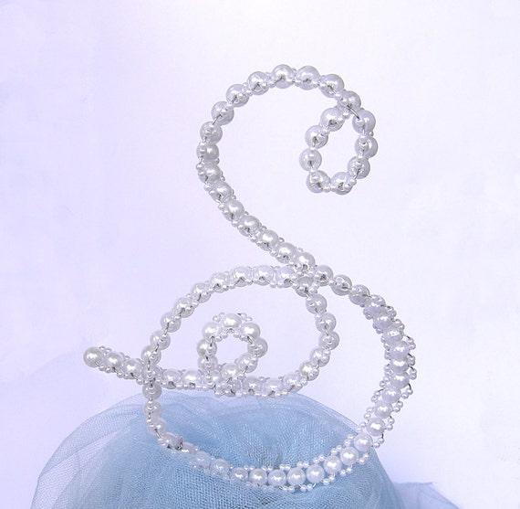 Pearl Wedding Cake Topper Pearl Letter Cake Topper