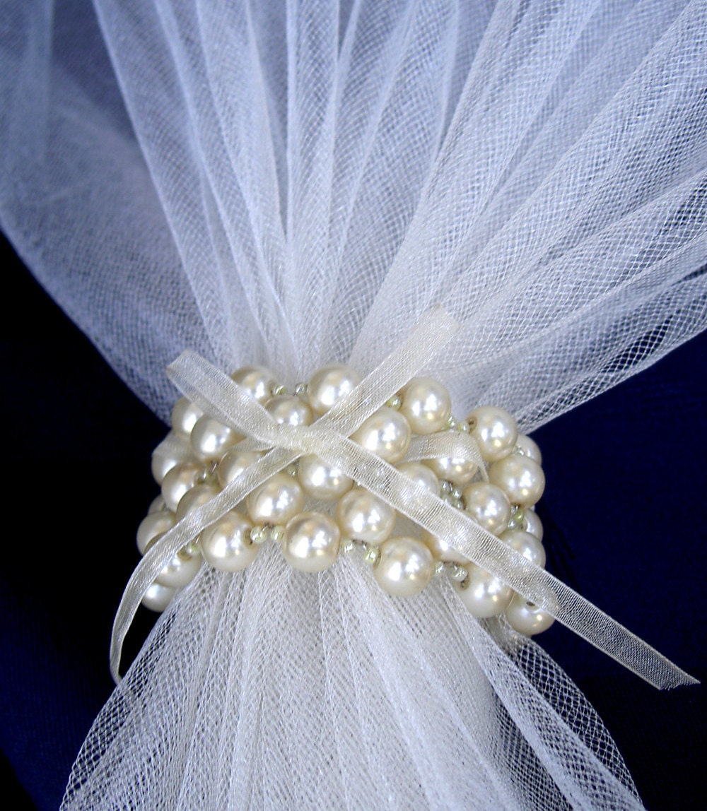 Wedding Napkin Rings Creme Pearls Napkin Rings Beaded