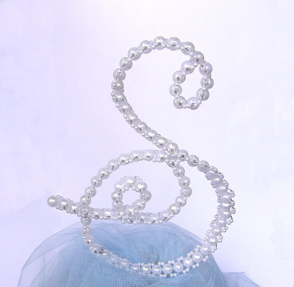 Cake Topper - Wedding Letter Cake Topper - Letter S - Monogram Cake