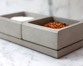 Salt and Spice Caddy with Mother of Pearl Inlay. Concrete Spice & Salt Caddy