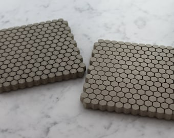 Concrete Coasters. Hexagon Coasters. Tiny Trivet