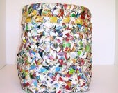 AS IS SALE - Half off Original Price - Hand Made, Textured, Recycle Bin Made Out of News Paper Flyers.