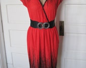 Vintage Joseph Ribkoff Vibrant Red Sexy Short Sleeved Dress