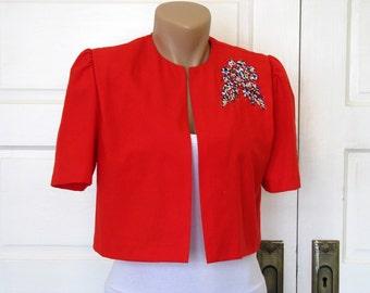 SALE Vintage Red Cropped Bolero