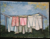 Spring Laundry on the line Original Mixed Media collage on Canvas 8X11
