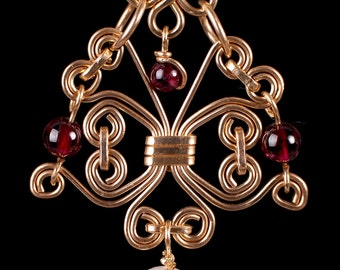 14k Gold Filled  filigree Pendant with Garnet and Fresh water Pearl on a 14k Gold fill chain