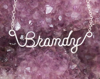 Name Necklace Custom Wire Wrapped  in Sterling Silver