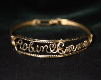 Double Name Bracelet in 14K Gold Fill Wire with Heart