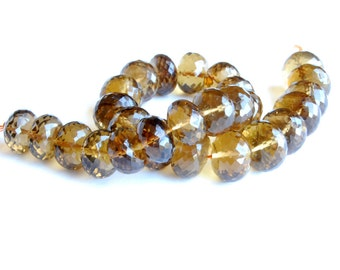 Beautifully Faceted Extra-Large Whiskey Quartz Rondelles - 9 x 12mm - 1 piece