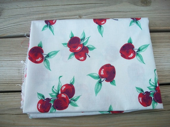 Red Apples Feedsack Fabric
