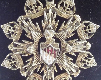 Coat Of Arms Crest Shield Large Necklace Medallion 60's 1960's