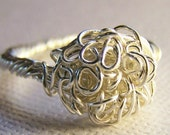 Nest of Curls Silver Wire Sculptured Ring, Made to Order
