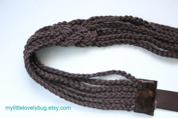 Crochet Sailor's Knot Headband in Chocolate Brown
