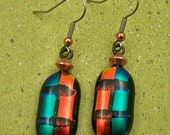 Groovy Dichroic Dangle Earrings - Copper Orange and Green Fall Colors Fused Glass - Surgical Steel French Wire or Clip On