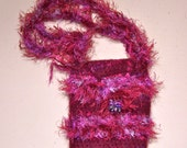 Ruby Red Wine Felted Wool Purse - Fuzzy Fluffy Novelty Fiber - Crochet - Dichroic Glass Clasp Pendant